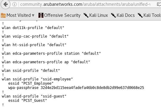 HARVESTING PASSWORDS FROM ARUBA CONFIGS | BYTESDARKLY